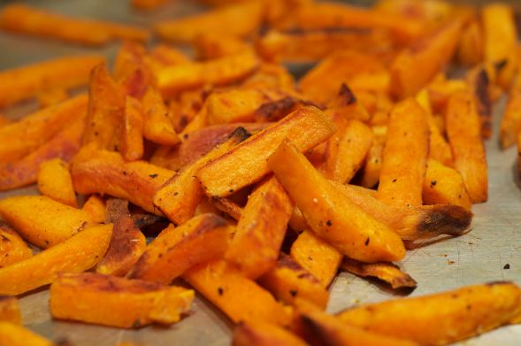 Baked Sweet Potato Fries. Have maple syrup and ketchup ready for dipping.